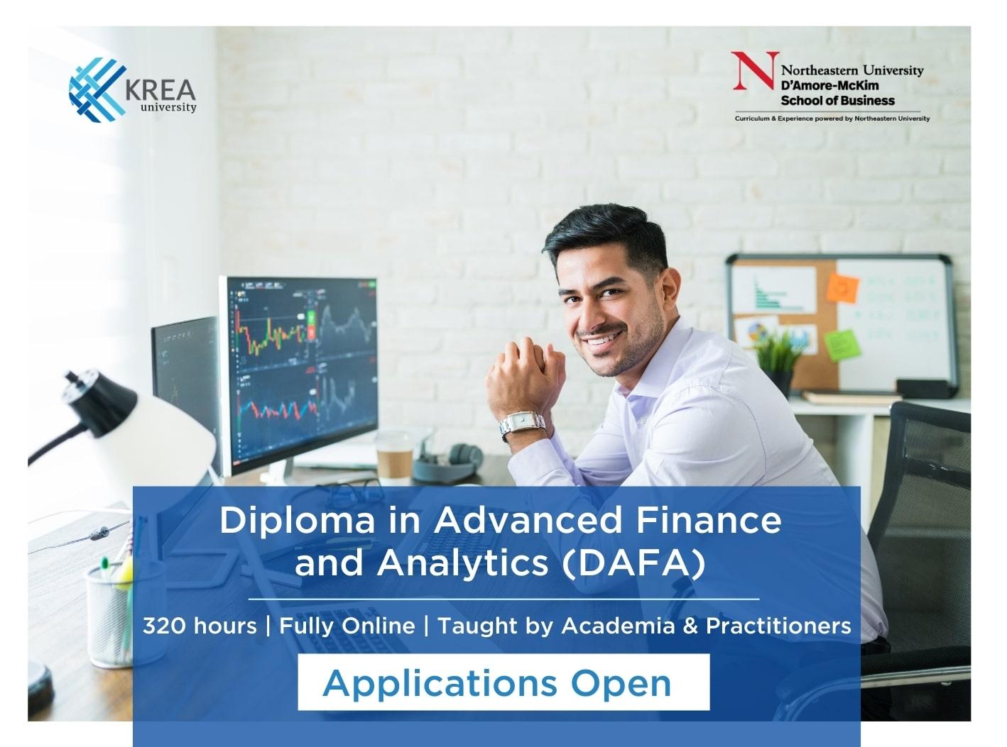Krea University launches Diploma in Advanced Finance & Analytics (DAFA)