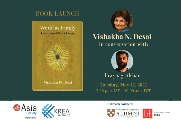 'World as Family': Dr Vishakha N Desai in conversation with Prof Prayaag Akbar | 11 May, 7.30 PM IST