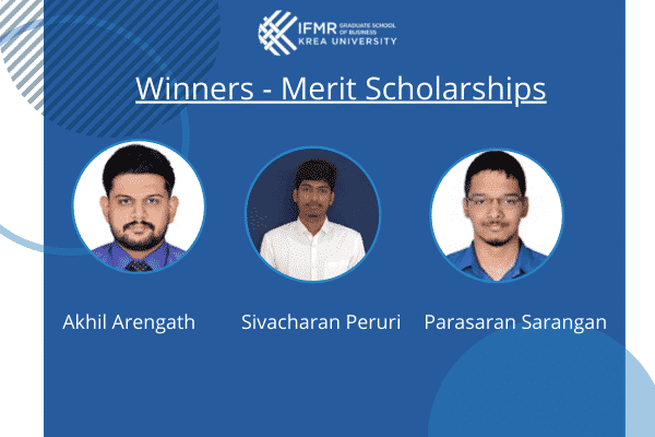 MBA office announces winners of Merit Scholarships from the MBA batch of 2023